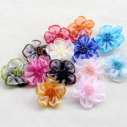 Wholesale Crafting Ribbons - 200pcs Upick Organza Ribbon Flower Bows Appliques Craft Wedding Decoration