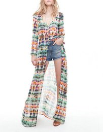 Wholesale Tie Dye Chiffon Long Dress - 2016 Factory Direct Explosion Tie-dyed Printing Long Sleeves Chiffon Beach Maxi Casual Dress Exceed Longuette Bodycon Woman Work Dresses