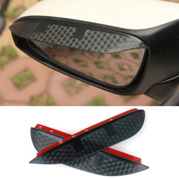 Wholesale Blade Change - Car Styling Carbon rearview mirror rain eyebrow Rainproof Flexible Blade Protector Accessories For Mitsubishi PAJERO 2008-2012