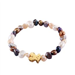 Wholesale Silver Pearl Rose - Stainless steel good quality grey white shell pearl beads bracelet gold silver rose gold jewelry bears for girl & lady