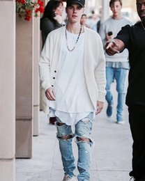 Wholesale Men Cotton Jumpsuits - Wholesale-New Arrival Mens Jumpsuit Designer God RedLine Justin Bieber Pants Kanye West Denim Skinny Ripped Jeans High Quality Fear Of God