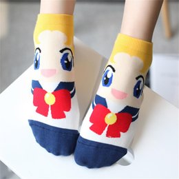Wholesale Ice Rabbit - Wholesale-1 Pair Spring Autumn Cute Comfortable Woman Lady Girl Sailor Moon Rabbits Water Ice Cotton Cartoon Socks 6 Colors