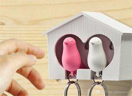 Wholesale Love Birds Sparrow Key Ring - Love birds Birdhouse Keychain DUO Sparrow bird Key Ring Two Birds Novelty Home Decoration valentines
