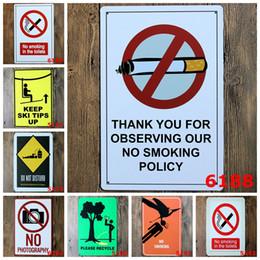 """Wholesale Place Stickers - Vintage Metal painting """"No smoking"""" wall painting art wall stickers crafts cafe Public places bar decoration 20x30 CM"""