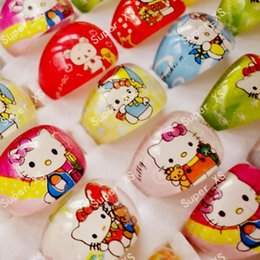 Wholesale Indian Plastic Wholesale - Fashion Hello Kitty Children Ring Animation Cartoon Plastic Resin Plastic Jewelry For Kid Boys Girls Whole Jewelry Lots LR401