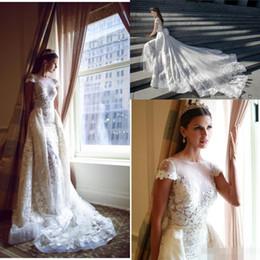 Wholesale Modest Sheath Wedding Dresses - 2016 Berta Wedding Dresses Detachable Illusion Sheer Neckline Capped Backless Bridal Dress Floral Applique Sheath Modest Wedding Gowns