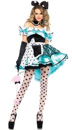 Wholesale Halloween Costumes For Womens - Halloween Maid Costumes Womens Adult Alice in Wonderland Costume Suit Maids Lolita Fancy Dress Cosplay Costume for Women Girl