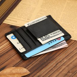 Wholesale Mens Money Clip Wallets - front pocket men purse wallet genuine leather Multi functional card holder magnet money clip mens wallet
