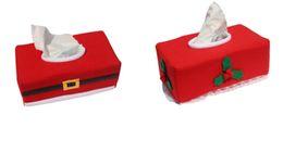 Wholesale Tissue Box Santa Claus - cker Christmas santa claus belt + leaf Tissue Box napkin Case Holder table dinner Decorations Xmas season Home Party 2pc set