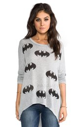 Wholesale T Shirt Bat Sleeves Pattern - 2017 foreign trade women's bat pattern printing t-shirt pullover loose long-sleeved ribbed sweater