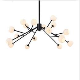 Wholesale Industrial Ceiling Chandelier - modern chandeliers led glass pendant light indoor ceiling chandelier lights with 18 glass white lampshade industrial pendant lighting