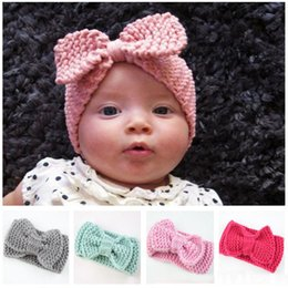 Wholesale Hair Ribbon For Crochet - Sweet Newborn Turban Ear Warm Headband Crochet Knitted Bow Hairband Head Wrap Hair Bands Accessories for Kids
