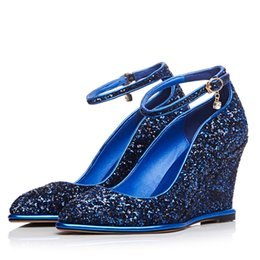 Wholesale Imported Products - 2016 new shoes diamond wedges shoes imported special material two colors wedge heel height 8cm Product Code 118-B716