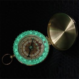 Wholesale Copper Compass - Silver Golden Copper G50 Portable Travel Hiking Outdoor Classic Brass Compass Camping Pocket Watch Style Compass Keychain Flip Noctilucence