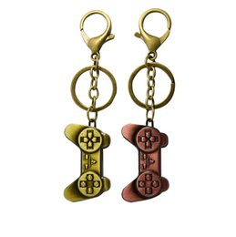 Wholesale Video Hands - Retro Punk Style hand shank video game design Metal Keyring for Car Key Antique Bronze Plated Split Key Rings Findings Keychain Key Chains