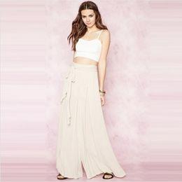 Wholesale Long Loose Trouser Belt - Female Belt Ruched Trouser Solid Color Brief High Waist Pants Fashion Elegant Ladies Loose Long Pants