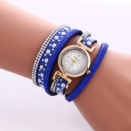 Wholesale Weave Wrap Around Leather - Hot Brand Watch Fashion Casual Quartz Watches Weave Wrap Around Bracelet Watch Crystal Synthetic Fashion Chain Watch for Christmas Gift