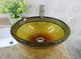 Wholesale Glass Wash Basin Sink - Glass material wash basin bathroom sink shades of yellow and brown striped pattern 19mm double glazing LLFA