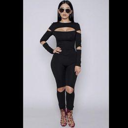Wholesale New Fashion Suits For Women - 2016 New Fashion Bodycon Jumpsuit Bodysuit Be Slim Overalls Women Combinaison Femme Elegant Jumpsuit Body Suits woth Hole For Women