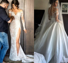 Wholesale Long Sleeve Gown Front Slit - Modest Steven Khalil Lace Wedding Dress With Detachable Skirt Sheath High Split Elegant Overskirts Sheer Bridal Gowns Vestidos De Noiva 2017