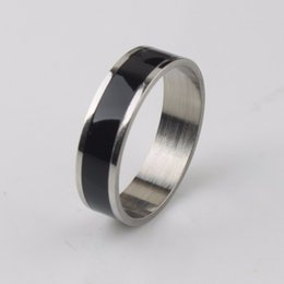 Wholesale Jewelry 12 Titanium - Fashion 6mm Stainless Steel Band Rings Titanium Ring Center Cool black for Women and Men Band jewelry Size#6 to #12