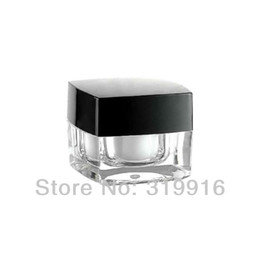 Wholesale Small Plastic Jars Lids - 5g X 50 empty square acrylic cream jar packaging bottle with black lid, transparent small container , Sample cosmetic cream pot