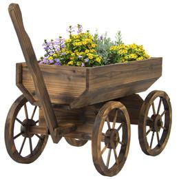 vaso da giardinaggio Sconti Basamento del vaso del piantatrice del fiore del vagone di legno del giardino con le decorazioni all'aperto domestiche delle ruote