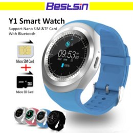 Wholesale Phone Facebook - Y1 Smart Watch Round Sharp Support Nano SIM with Whatsapp Facebook Business Smartwatch Push Message For IOS Android Phone Free Shipping