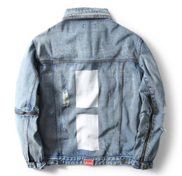 Wholesale Men Jacket Denim Vintage D printing five pointed star Hole Punk Outerwears Jeans Jackets Quality Tops Mans Casual Homme