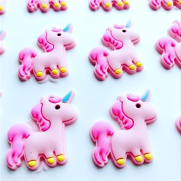 Wholesale Animal Barrettes - New 100pcs  Lot Cute Headbands Unicorn Flatback Diy Hair Bow Accessories Shower Decoration Center Crafts Fashion Headwear