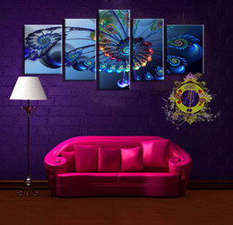 Wholesale Print Frame Digital Photos - Resim Tuval 5 Panel Set Up Blue Sparks Abstract Oil Painting Canvas (no Frame) The Sitting Room of Home Decoration Photos Printed Wall Art