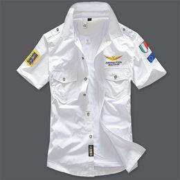Wholesale Shirt Military Fashion - Wholesale-New fashion 2016 military air force uniform short sleeve shirts men dress shirt free shipping