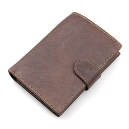 Wholesale Purse Protectors - Mens Genuine Leather RFID Blocking Anti Theft Wallet Credit Card Protector Safety Shield Purse Coffee Color 8129