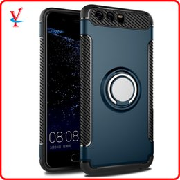 Wholesale Cell Combo - For HUAWEI P10 plus cell phone cases shell belt support, anti throwing ring, magnetic suction armor combo protection sleeve P10