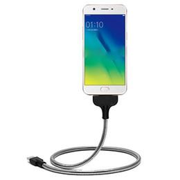 2019 telefono de mano flexible Soporte flexible USB Metal de calidad superior 360 que gira 50cm Tipo C / Micro USB Cable de datos de carga del teléfono Android en forma de mano rebajas telefono de mano flexible