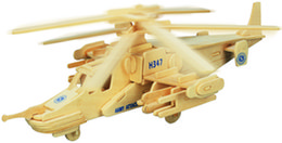 Wholesale Helicopter Wooden Puzzle - Free shipping ---2016 year Black shark helicopter wooden simulation model three-dimensional puzzle DIY assembly educational toys