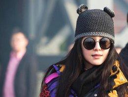 tejer sombreros redondos Rebajas 2017 popular sombrero de punto gorro mujer invierno cálido hecho a mano tejer sombrero de lana otoño e invierno orejas redondas sombrero de dibujos animados sombreros calientes A +++++