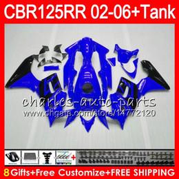 Corpo + Tanque Para HONDA CBR125 R azul brilhante CBR125R 02 03 04 05 06 80NO14 CBR 125R 125RR CBR125RR 2002 2003 2004 2005 2006 Carenagem 23Cores cheap honda cbr 125r fairings de Fornecedores de carenagens honda cbr 125r