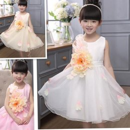 Wholesale Kids White Casual Wedding Dress - Girls Tutu Dress for Birthday Wedding Party Girls Dress Kids Wear Casual Dresses Fashion Princess Dress Children Clothing Lace Dresses