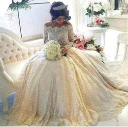 Wholesale Puffy Beaded Wedding - 2017 Luxurious Full Lace A Line Wedding Dresses Long Sleeves Pearls Beaded Illusion Appliques Puffy Custom Off Shoulder Bridal Gowns BA3212