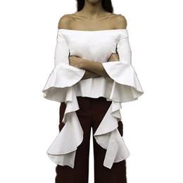 Wholesale Elegant Blouse Woman - Ruffles Sleeve Elegant Top Summer Slash Neck Shirt Blouse New White Sexy Women Blouse Shirt Black Elegant Tops Female Cute Tops