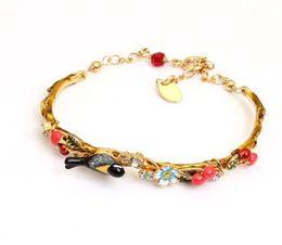 Wholesale Enamel T - t lady'syellow bird cherry garden Enamel bracelet 1688 niu