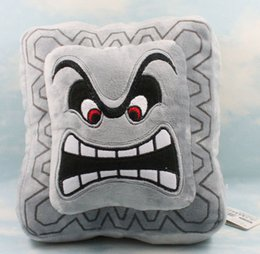 """Wholesale Super Mario 23cm - New Gray 1 PCS Baby Toy Super Mario Bro Angry Bricks Stuffed Plush Dolls with Tag Pillow Cushion Approx 23cm 9"""""""
