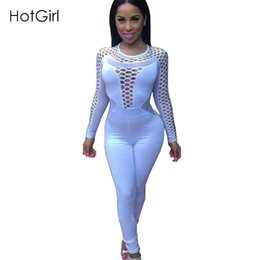 Wholesale Jumpsuit Long Sleeve Mini - Sexy Women Bodycon Jumpsuit Long Sleeve Bodysuit Black White Skinny Hollow Out Night Club Wear Macacao Feminino Rompers For Mini Short