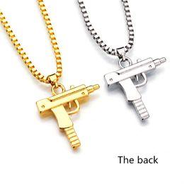 colgante de pistola de oro Rebajas 2018 CALIENTE Hip Hop collares grabados en forma de pistola Uzi colgante de oro de alta calidad collar de cadena de plata de oro joyería de moda popular colgante
