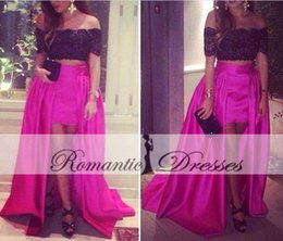 Wholesale Dress Sequin Fushia - Two Pieces Prom Dresses Black Lace Short Sleeves Satin Party Dresses High Low Fushia Evening Gown