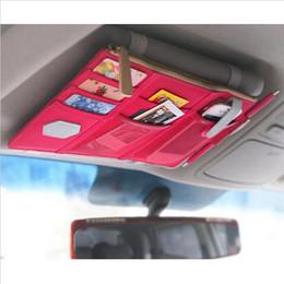 Wholesale Clipper Car Holder - Multifunctional Sun Visor business card holders Storage Bag Car Notes Pouch CD Receive Bag Card Visor Case Holder Clipper BagMultifunctional