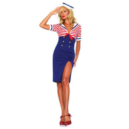 Wholesale Women S Fancy Underwear - Sexy Sailors & Sea Costumes Adult Sweetheart Sailor Cosplay Women Fancy Dress Blue Outfit Sexy Lingerie Underwear Party Uniform