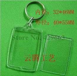 Wholesale Arc Photo - Free shipping 300pcs lot Rectangular Arc DIY Acrylic Blank Picture Frame Keychains Transparent Blank Insert Photo Keychains