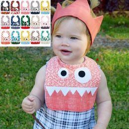 Wholesale Cute Infant Towel - 15 Styles INS Big Eye Monster Bibs With Cute Teeth Baby Bibs Soft Infant Saliva Towel Toddler Absorbent Dribble Burp Cloth CCA7216 300pcs